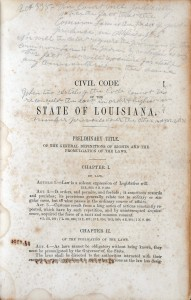 Annotated page, Civil Code of the State of Louisiana, 1857