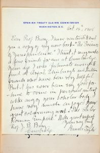 Hannis Taylor letter to Bury, October 14, 1908