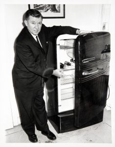 Image of Kenneth Roberts demonstrating refrigerator safety
