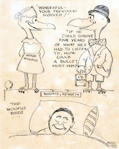 Image of Woofus Birds cartoon concerning Robert's treatment following the shooting