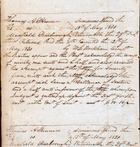 Image of record of complaint, May 1830.