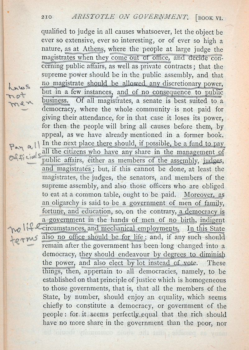 Image of Black's underlinings and marginal notes.