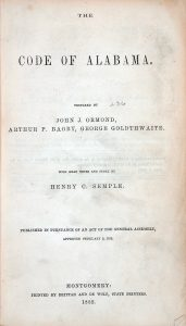Image of the 1852 Code of Alabama title page.
