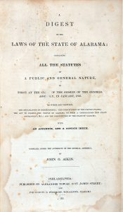 Image of Aikin's Digest title page.