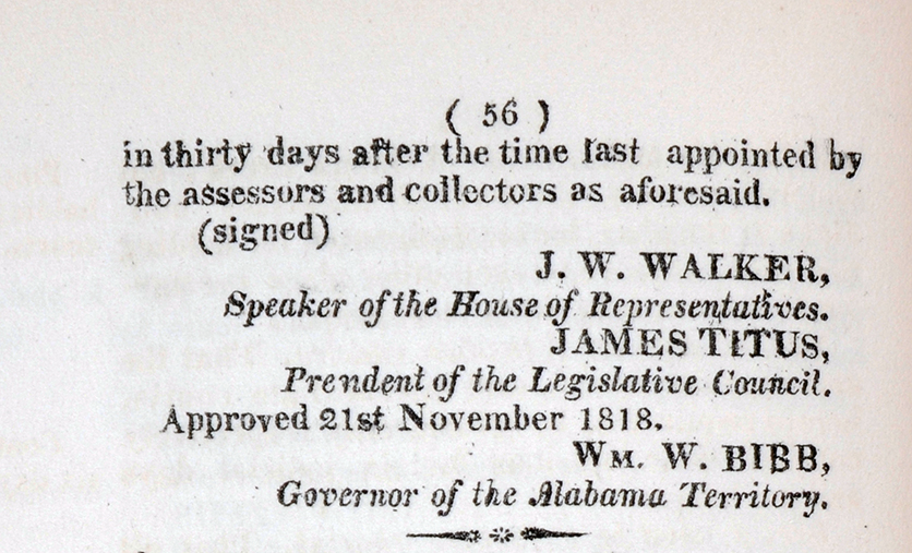 Tax Collection in 1818 Alabama