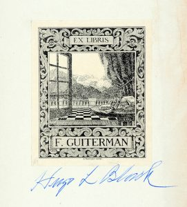 Black's signature under F. Guiterman's bookplate.