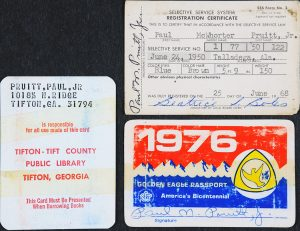 Group image of 1968 draft card, a 1974 library card, and a national park admissions card.