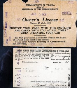 Image of an automobile owner's license, 1925.