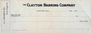 An image of an unused check, Clayton Banking Company, Clayton, Alabama.
