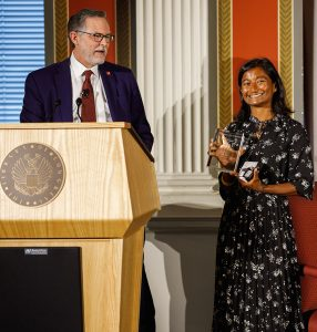 Image of Sharon Bala accepting the award.