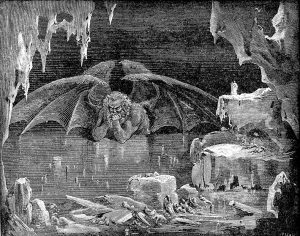 Image of Lucifer half-submerged in ice.