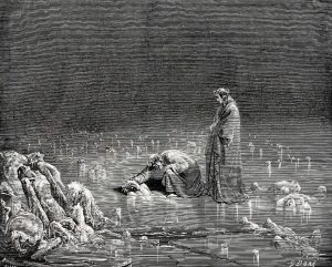 Image of Virgil and Dante touching the soul submerged in ice.