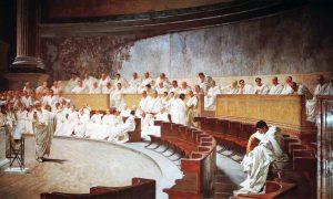 Image of Cicero denouncing Catiline.