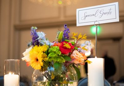 Flowers on a dining table