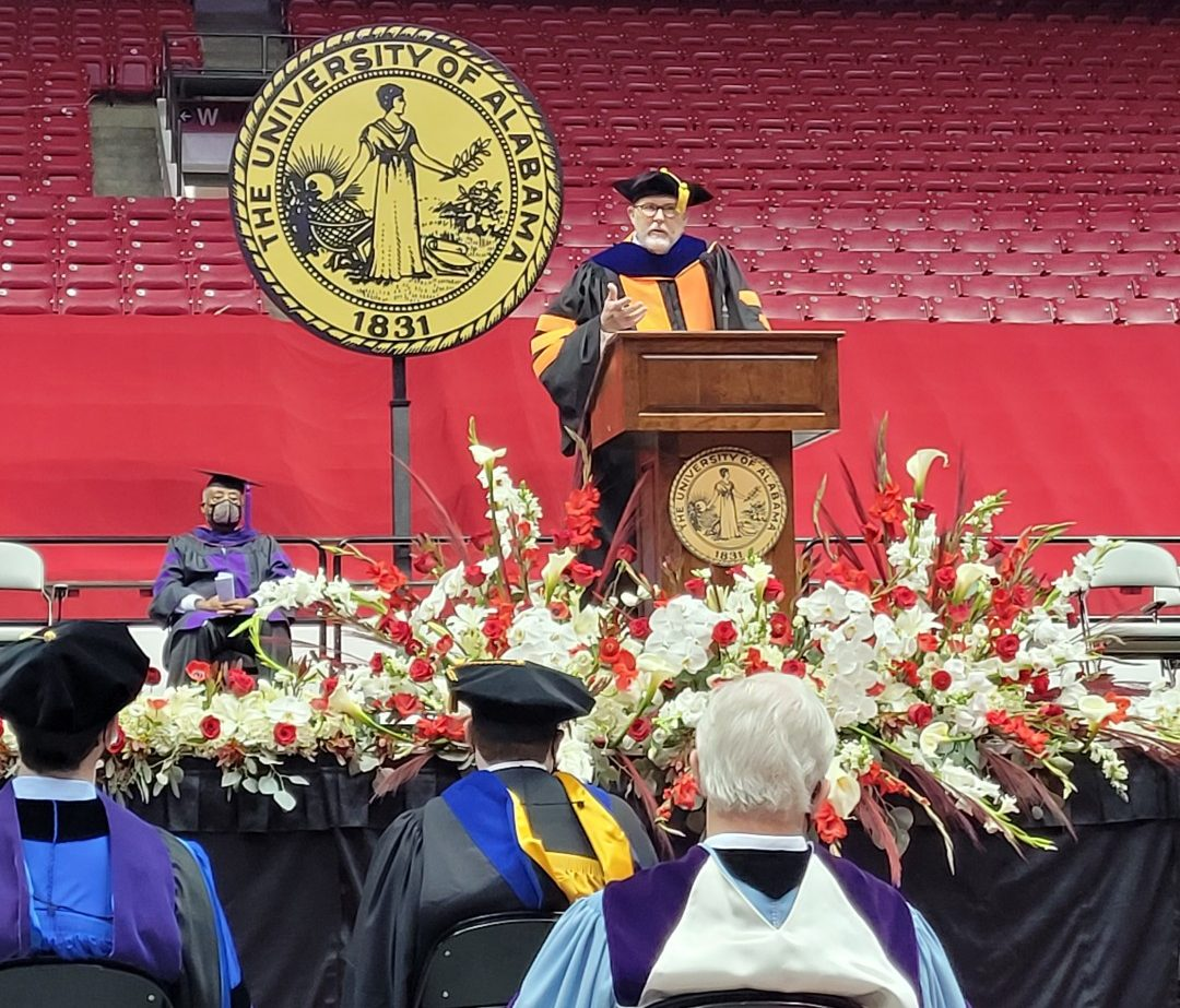 Dean Mark E. Brandon addresses the 2021 and 2020 Alabama Law graduates.