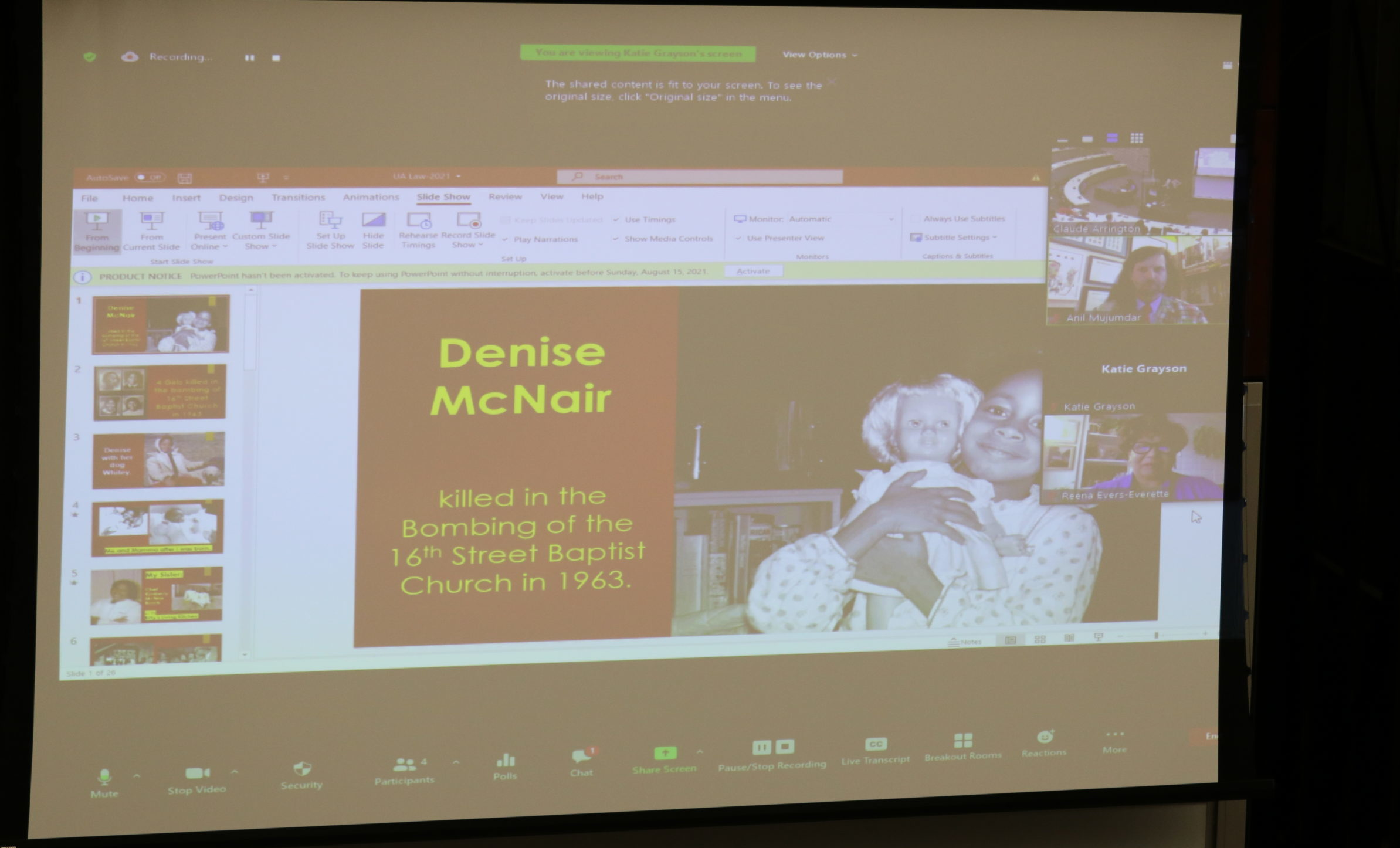 Presentation slide of Denis McNair who was killed in the Bombing of the 16th Street Baptist Church in 1963.