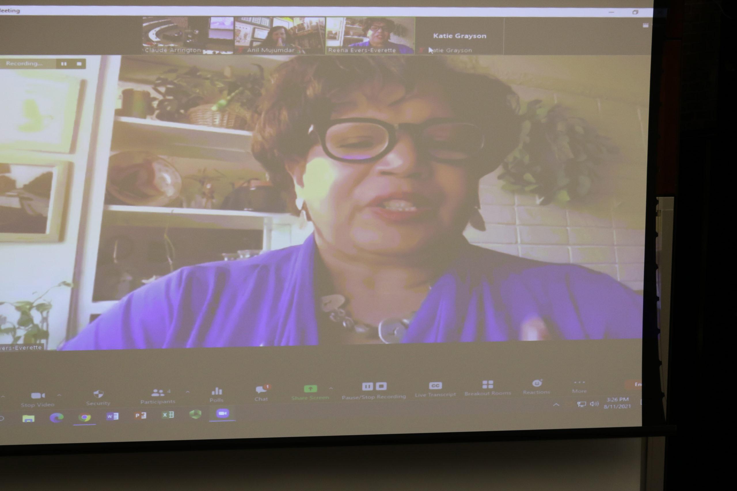 Reena Evers-Everette presents via Zoom to Alabama Law 1L students.